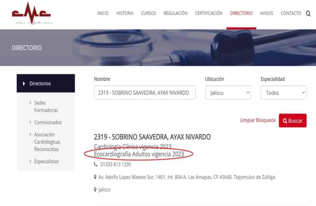 Cardiólogo Certificado Consejo Mexicano de Cardiologia